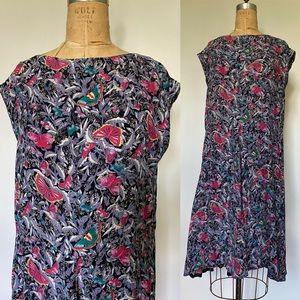 Vintage 1980's rayon butterfly print dress